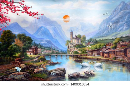 Illustration of Natural scenery of river and mountains decorative texture background 3D wallpaper. Bright Textured modern artwork
