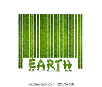 Illustration with a nature barcode and grass.