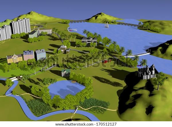 illustration of nature and buildings, holidays, green and blue colors, 3d illustration, raster illustration