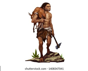 Illustration of Neanderthal Man Carried a Deer on His Shoulder and Held the Stone Ax in the Other Hand.