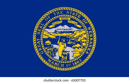 Illustration of Nebraska state flag, United States of America.