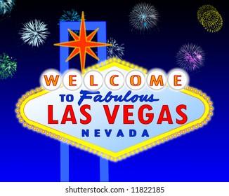illustration of the neon illuminated Las Vegas sign