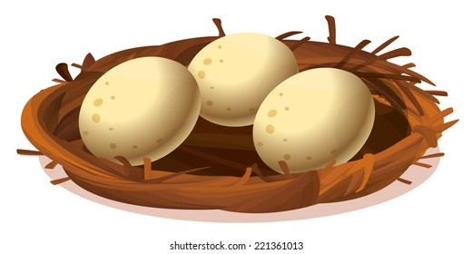 Illustration of a nest with three eggs on a white background