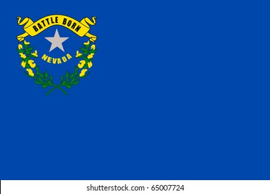 Illustration of Nevada state flag of America.