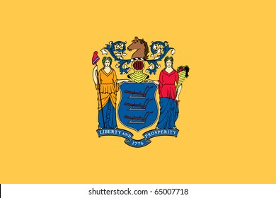 Illustration of New Jersey state flag, United States of America.