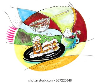 illustration of new year party table