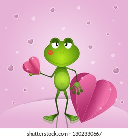 an illustration of nice frog with heart