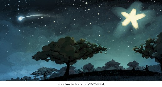Illustration of night landscape with stars
