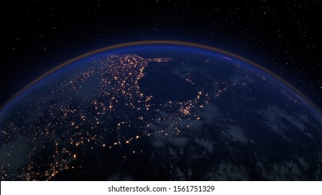 Illustration of the night view of Earth with city lights or illumination. Planet's surface with realistic atmosphere. Space globe view. High Quality 3D Rendered Earth background
