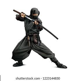 Illustration of a Ninja warrior with Katana isolated on white background