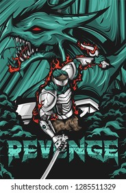 Illustration of ninjas with dragons, collaboration between modern and traditional, his hands made of robots. take revenge against the enemy.