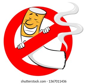 illustration of a no smoking sign with cartoon cigarette