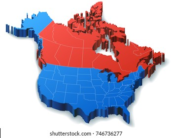 Illustration of North America Mapfeaturing just Canada and the USA.
