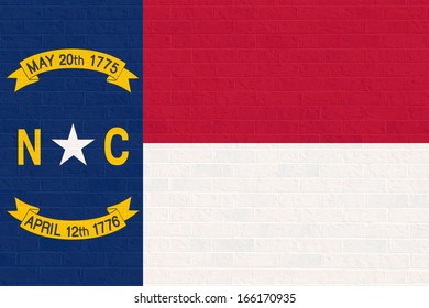 Illustration of North Calorina state flag on brick wall,United States of America.