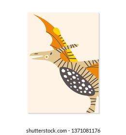 illustration. nursery card with cute dinosaur pterodactyl. For kids prints, postcards, wall art.