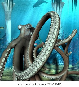 An illustration of an octopus under the sea