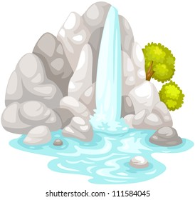 illustration od isolated waterfall on white