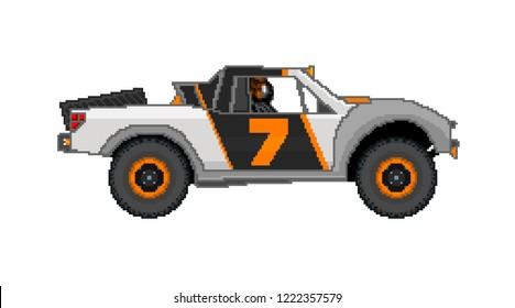 Illustration of an Off Road Desert Truck in Pixel Art.  Isolated on White.