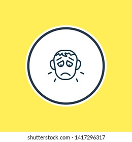 illustration of offence icon line. Beautiful emoji element also can be used as sorrow icon element.