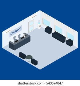illustration. Office reception desk, chairs, table, sofa. infographics, isometric