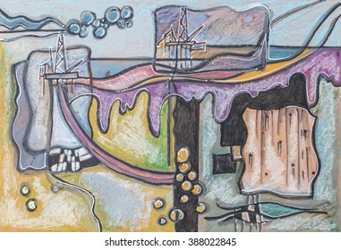 illustration of oil industry , watercolor pastel, ink, acrylic pen