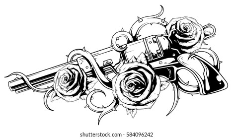 Illustration of old black and white revolver colt with roses tattoo