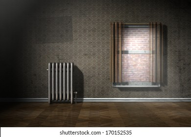 Illustration of Old Dilapidated Interior of city apartment or house