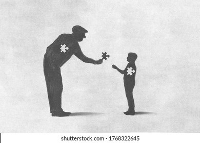 illustration of old man sacrifice for incomplete child, help concept
