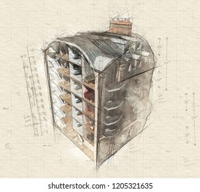 Illustration of  an old Parisian building sectioned showing rooms and interiors