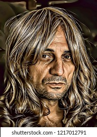 Illustration of old rockstar man with blondy long hair and craggy face, old idol male