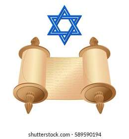 illustration old scroll papyrus and star of David on a white background. Cartoon image of the Torah in the unfolded state.