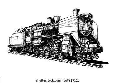 illustration of a old steam locomotive isolated on white background.