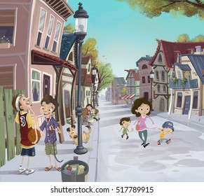 Illustration of old town with people
