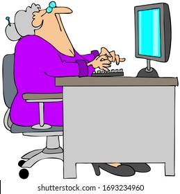 Illustration einer alten Frau, die beim Sitzen an einem Schreibtisch mit Flachbildschirm aufschaut.