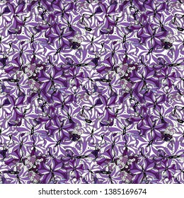 Illustration on black, violet and white colors. Abstract colored nice butterfly. Seamless background.