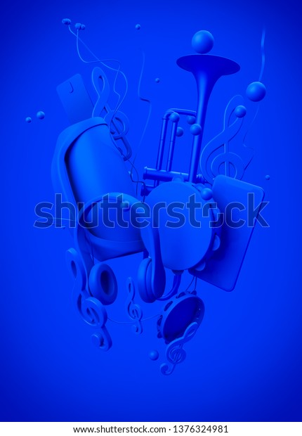 Illustration on a musical theme. Blue musical attributes on a blue background. 3d rendering illustration