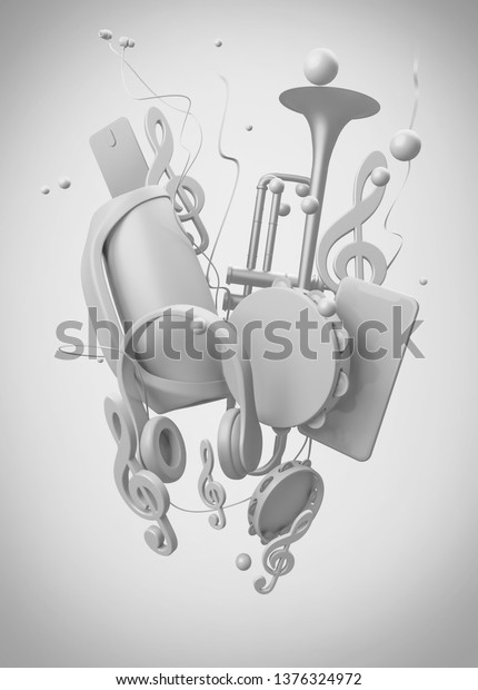 Illustration on a musical theme. Gray musical equipment on a white background. 3d rendering illustration