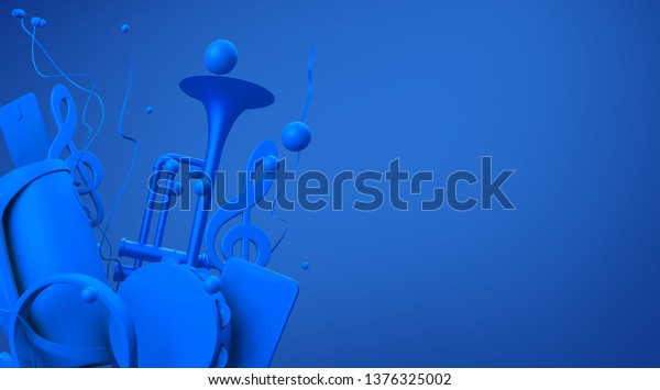 Illustration on a musical theme with place for text. Blue musical attributes on a blue background. 3d rendering illustration