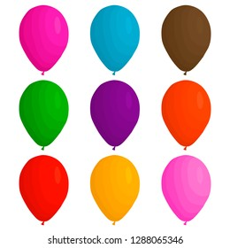 Illustration on theme big colored set different types inflatable rubber balloons, various size ballons. Balloon consisting of collection accessory ballon to celebrate holiday. Ballon ball as balloon.