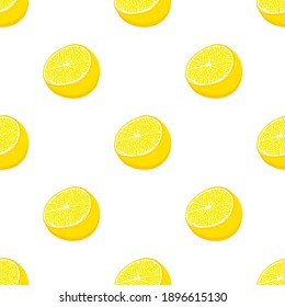 Illustration on theme big colored seamless yellow lemon, bright fruit pattern for seal. Fruit pattern consisting of beautiful seamless repeat lemon. Simple colorful pattern fruit from seamless lemon.