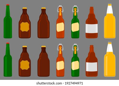 Illustration on theme big kit beer glass bottles with lid for brewery. Pattern beer consisting of many identical glass bottles on dark background. Glass bottles it main accessory for beer gourmet.