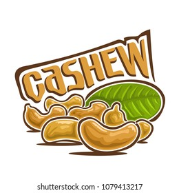 Illustration on theme of logo for cashew nuts, still life composition consisting of six peeled cashew nutlets and green leaf on white background.
