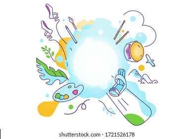illustration on the theme of various interests, hobbies, passion of people. Sport, art, ballet, skateboarding, mountains, bird, plants, brushes, paints, pencil, drum, drumsticks, music, drawing, knit
