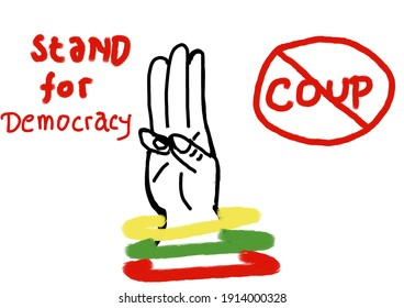 Illustration on three finger salute with symbolize stand and restore for democracy in Myanmar (Burma)