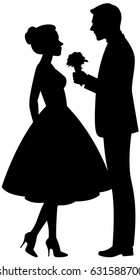 Illustration on a white background silhouette of a man in love presents a woman a bouquet of flowers.