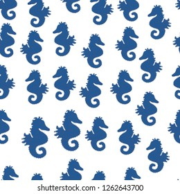 Illustration on white, neutral and blue colors. Simple Feminine Pattern for Card, Invitation, Print. Seamless pattern with underwater animals: seahorse. Repeated texture with cartoon characters.