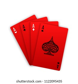 illustration Online casino banner with red playing cards poker hands Isolated white background surface table.Marketing Luxury Banner Jackpot Casino with poker hand Advertising poster red playing cards