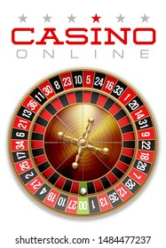 illustration Online web casino banner with american roulette table. Marketing Luxury Banner Poker Jackpot zero with classic shine roulette. Advertising poster set Online web Casino