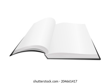 Illustration of open book with blank pages isolated