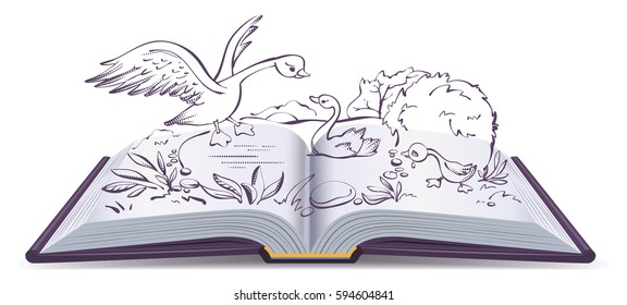 Illustration open book fairy tale of ugly duckling. Isolated on white cartoon illustration